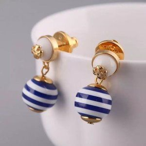 Tory Burch Aquamarine Pearl Stud Earrings